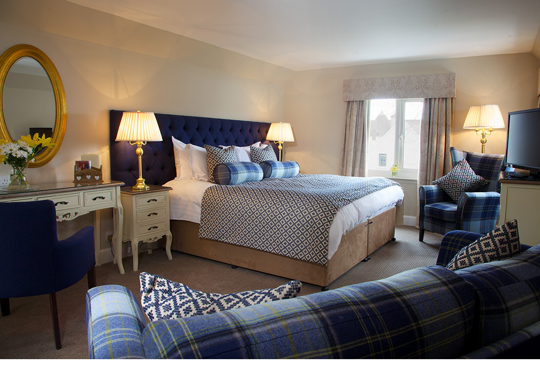 Interior photography of public areas and bedrooms for Kinloch Lodge - Skye.